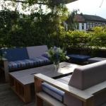 Iroko loungebanken + verstelbare tafel