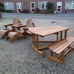 tuinset iroko verstelbare bear chair en eettafel in